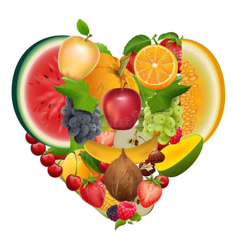 Set of fruit shape heart. Healthy food apple, grapes, melon, watermelon, berry, raspberry, strawberry, sweet cherry stock illustration