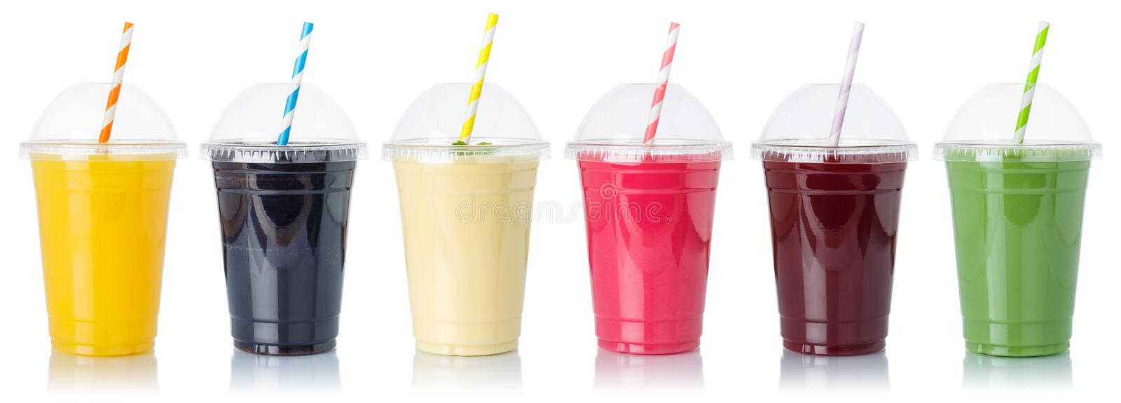 Set of fruit smoothies fruits orange juice straw drink in cups isolated on white royalty free stock images