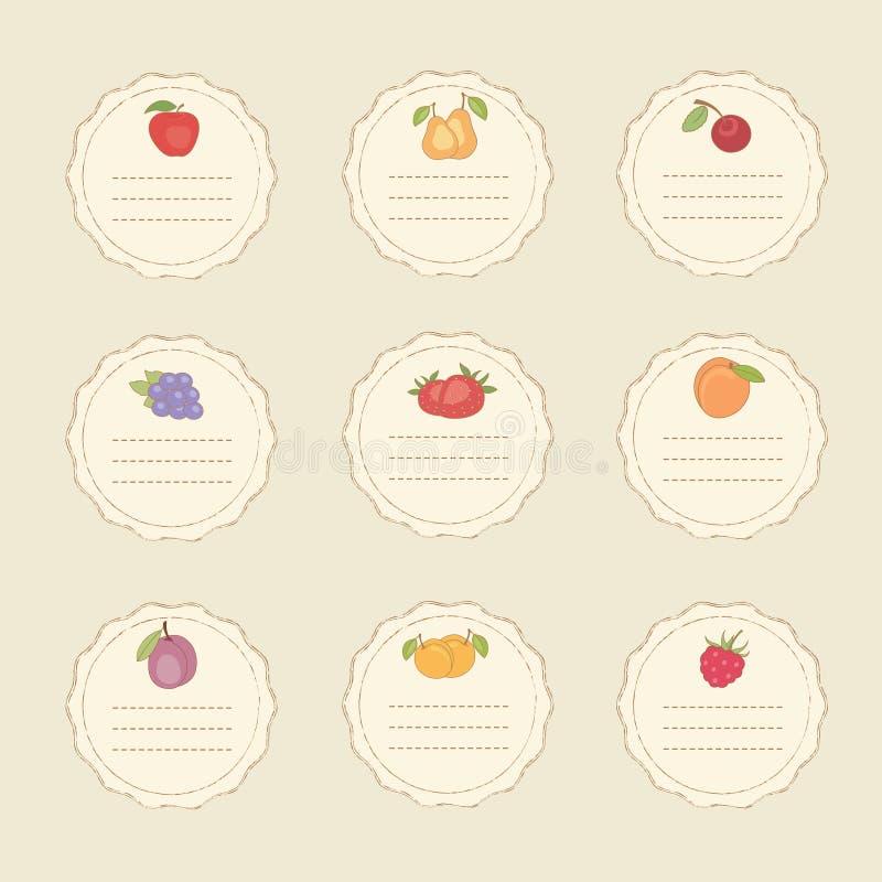 Set of fruit stickers stock illustration