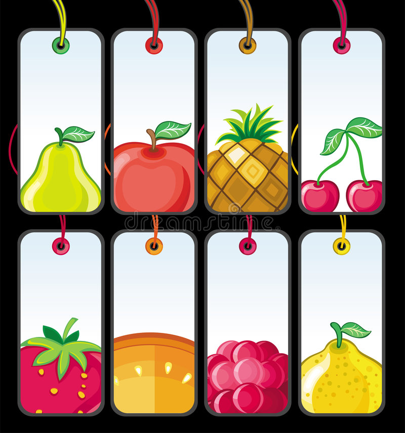 Download Set of fruit tags #1 stock vector. Image of pear, banana - 9351612