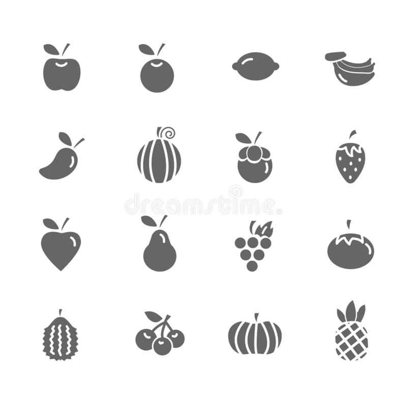 Set of Fruit Vector Icons. Includes pineapple, orange, strawberry, apple and more. Set of Fruit Vector Icons. Includes pineapple, orange, strawberry, apple royalty free illustration