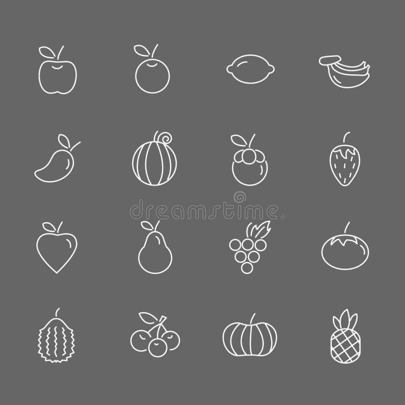 Set of Fruit Vector Line Icons. Includes pineapple, orange, strawberry, apple and more. In gray background. Set of Fruit Vector Line Icons. Includes pineapple royalty free illustration