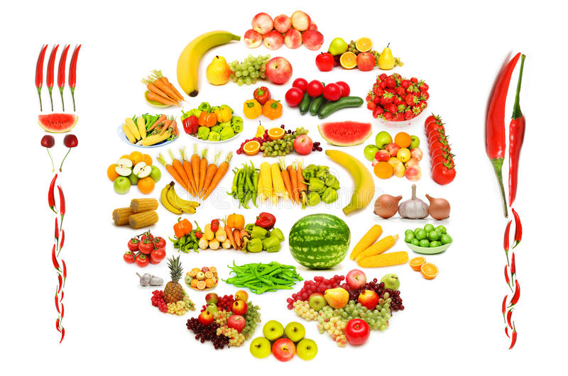 Set of fruit and vegetables stock images