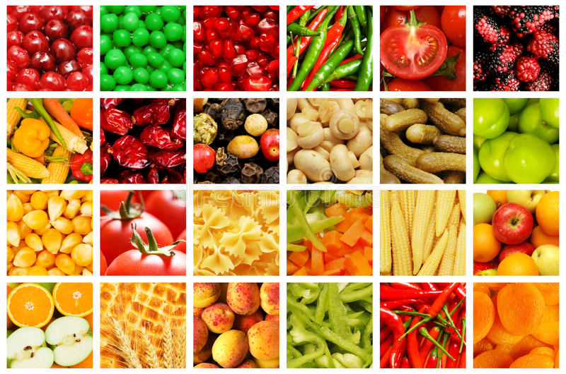 Set of fruit and vegetables stock photo
