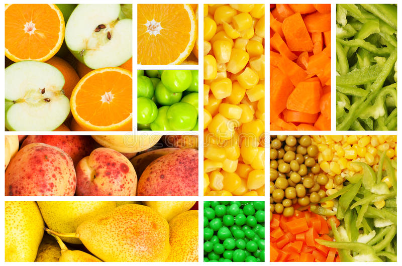 Set of fruit and vegetables stock photos