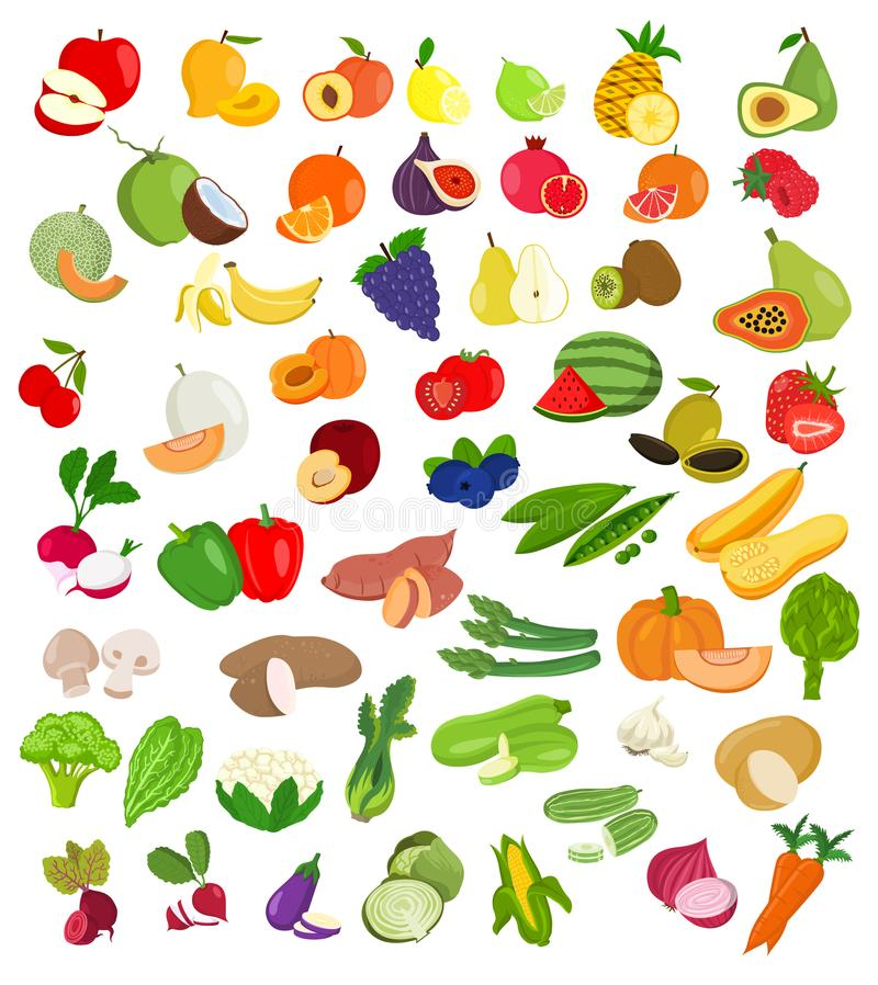 Set of fruit and vegetables illustration..Fruit and vegetable icons stock illustration