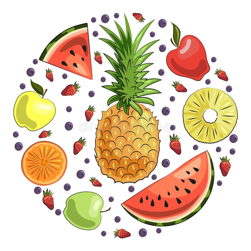 Set of fruits and berries: pineapple, watermelon slices, apples, orange slice, strawberries and blueberries. Summer royalty free illustration