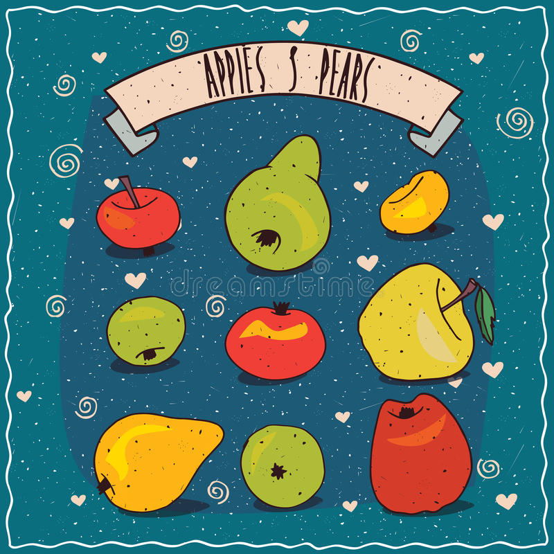 Set of fruits clip art such as apples and pears. Set of colorful clip art of fruits, apples and pears of different sizes, shapes and colors. Hand drawn in comic royalty free illustration
