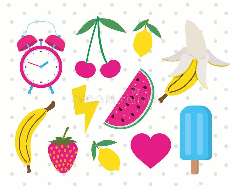 Set of fruits and icons pop art style royalty free illustration