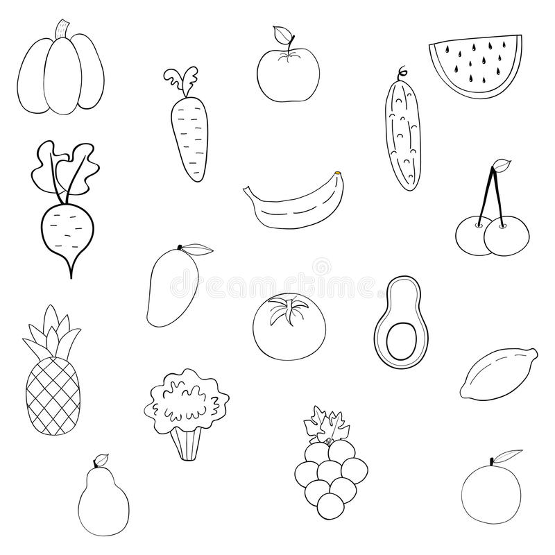 Set of fruits and vegetables stock illustration