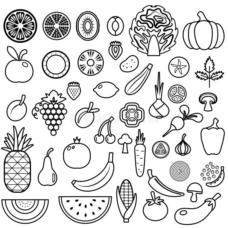 Set of fruits and vegetables. Food icon vector illustration