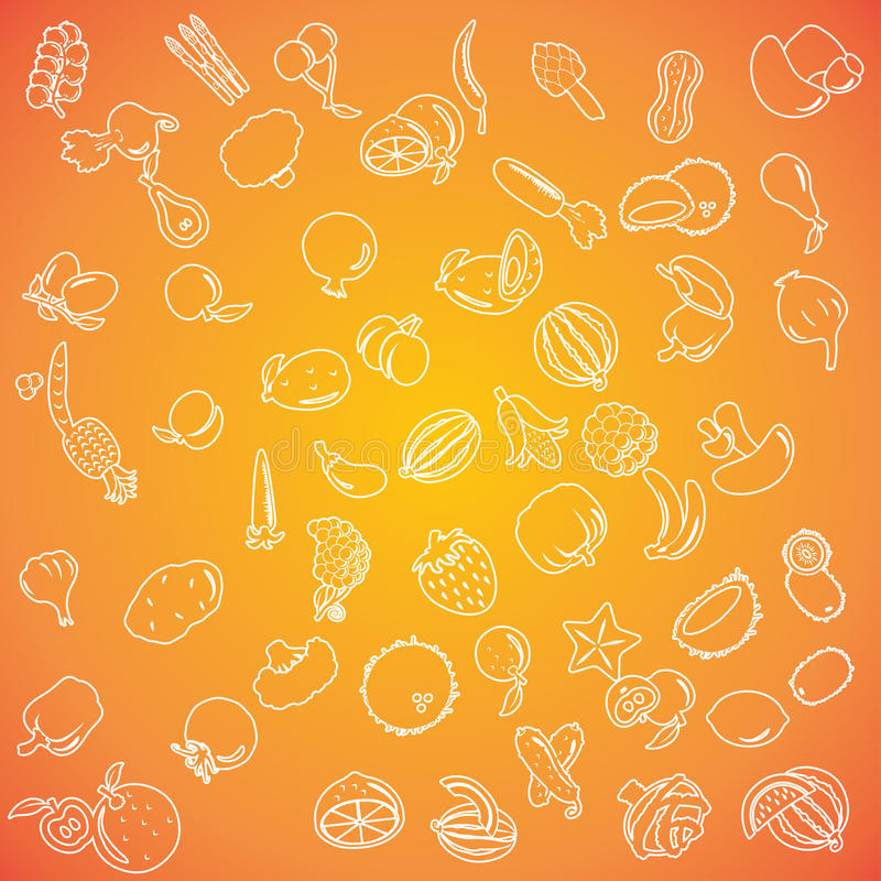 Set of fruits and vegetables icons stock illustration
