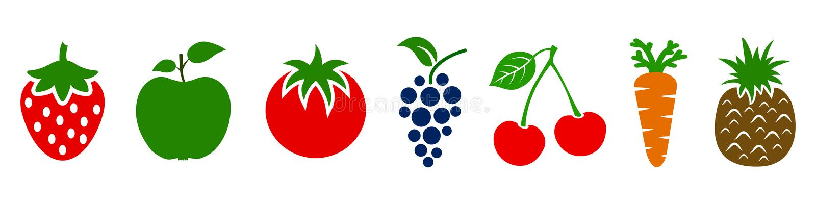Set of fruits and vegetables icons. Variety products, healthy food collection of strawberry, apple, pineapple, cherry, grape vector illustration