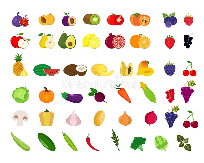 Set of fruits and vegetables. vector illustration