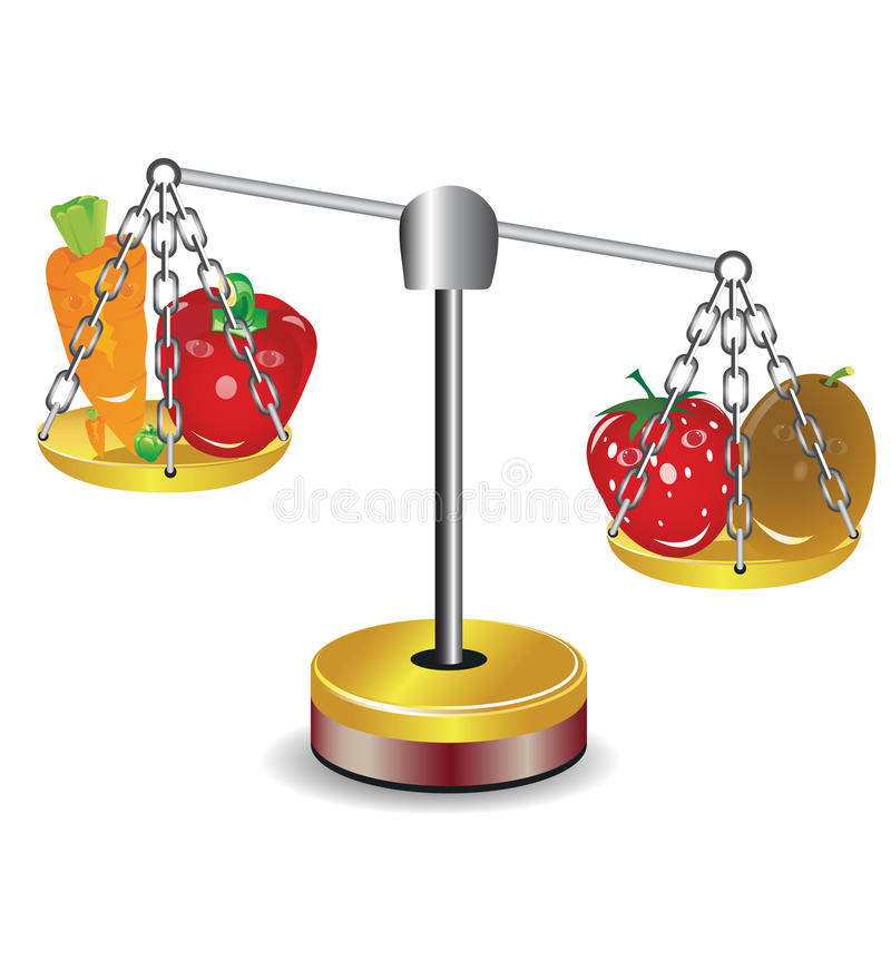 Download Set Of Fruits And Vegetables On Scales Stock Vector - Illustration of instrument, weight: 31990210