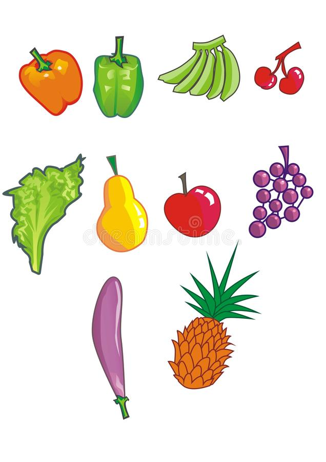 Set of Fruits and Vegetables. Consist of orange paprika, green paprika, green banana, cherries, lettuce, yellow pear, apple, grapes, eggplant, and pineapple royalty free illustration