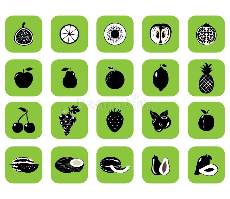 Set of fruits and vegetables royalty free illustration