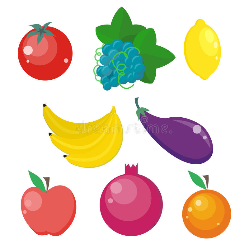 Set of Fruits and Vegetables Vector Illustrations. stock illustration