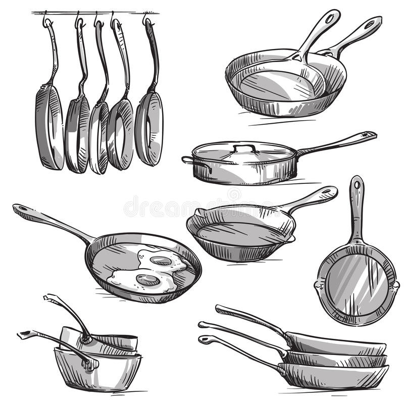 Set of frying pans. Vector illustration EPS 10. Fully editable vector illustration