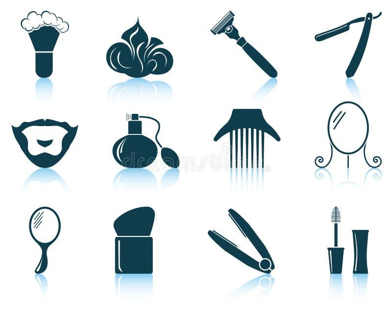 Set fryzjer męski ikony royalty ilustracja