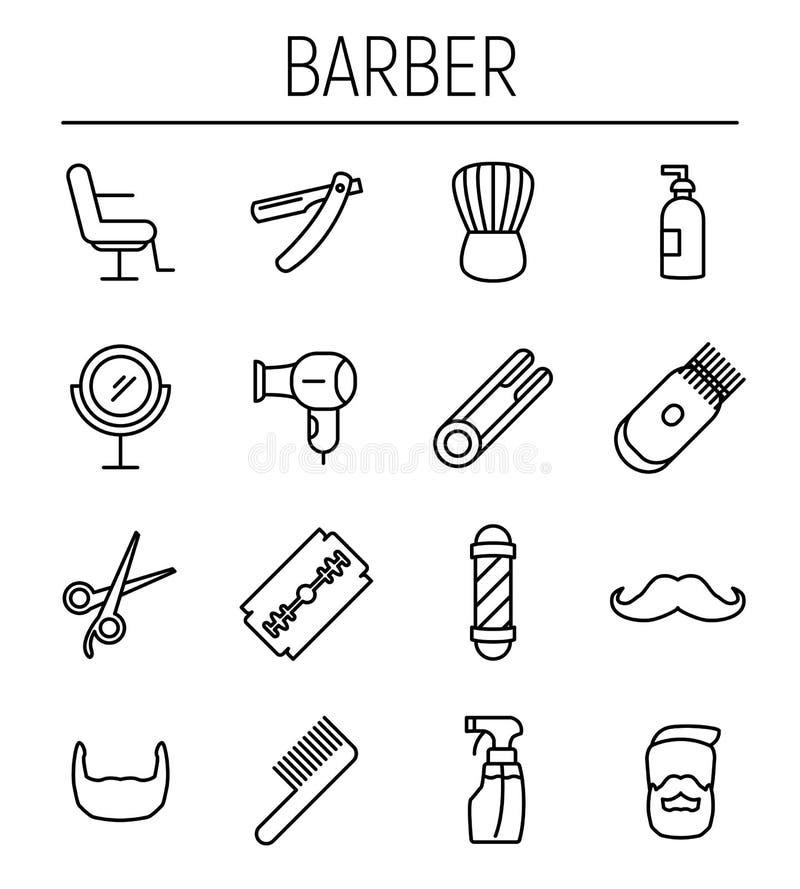 Set fryzjer męski w nowożytnym cienkim kreskowym stylu ilustracja wektor