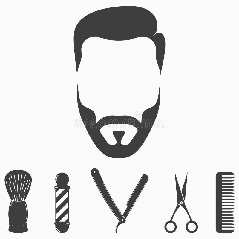 Set fryzjera męskiego sklepu elementy Inkasowe ikony dla włosianego salonu projekta Twarz mężczyzna wektor royalty ilustracja