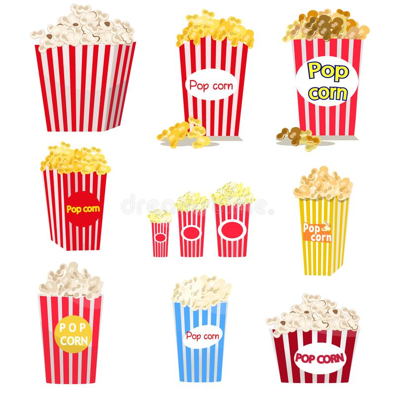 Set of full red-and-white striped popcorn buckets in different sizes. Set of full red-and-white striped popcorn buckets in variety of sizes isolated on white royalty free illustration