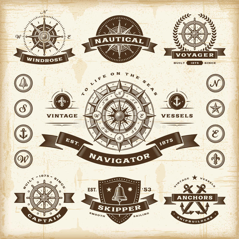 Vintage nautical labels set royalty free illustration