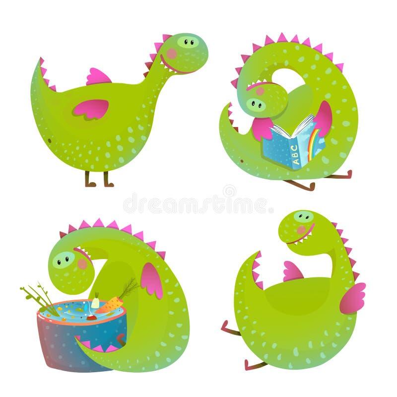 Set of fun cartoon dragons stock illustration