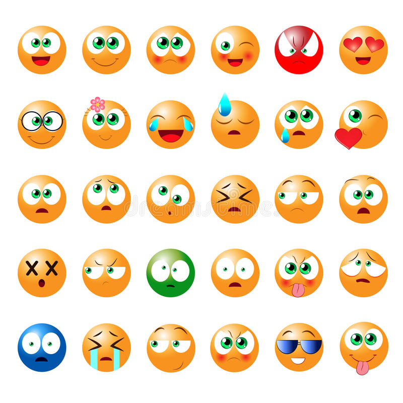 Set Of Fun Emoticons For Use In Games, Chat Rooms And Other Stock ...
