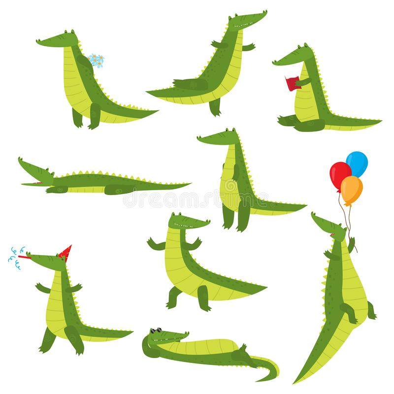 Set of fun green crocodiles occupying a pleasant pastime. Green alligator reads a book, flies on balloons, swims, dreams, eats and stock illustration