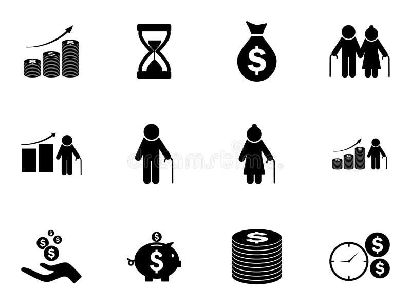 Set fundusz emerytalny ikony Wektorowi piktogramy ilustracja wektor