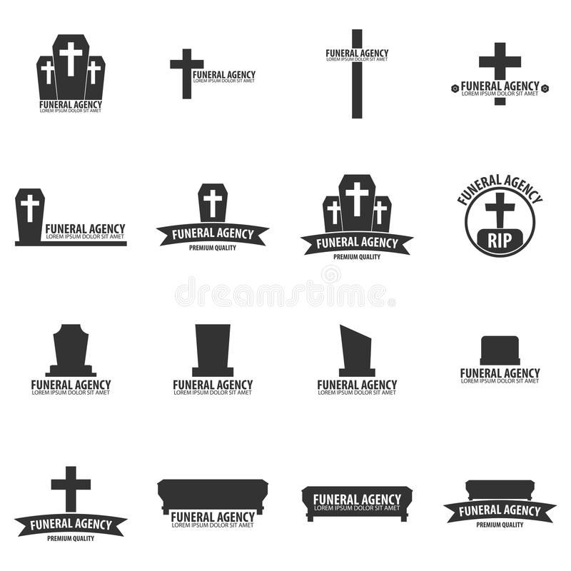 Set of Funeral home undertaking ceremonial service. Funeral agency. Vector logos and emblems. Set of Funeral home undertaking ceremonial service. Funeral agency stock illustration