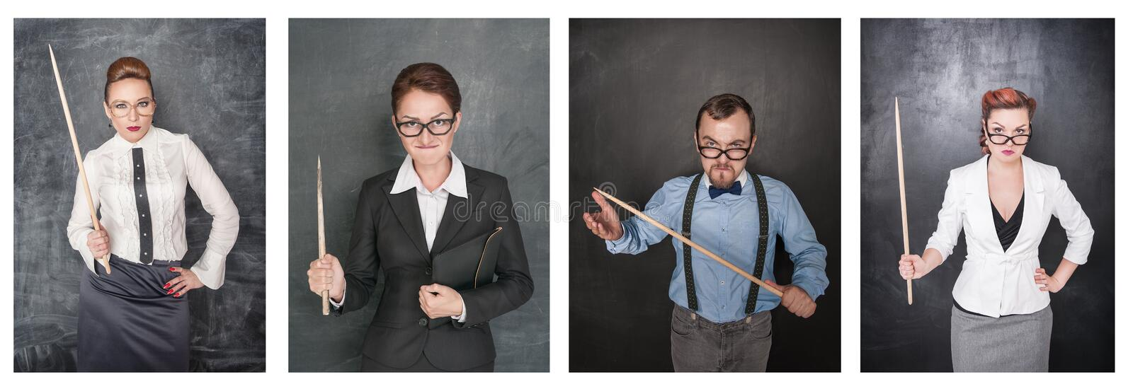 Set of funny angry teacher in eyeglasses with pointer on blackboard stock photos