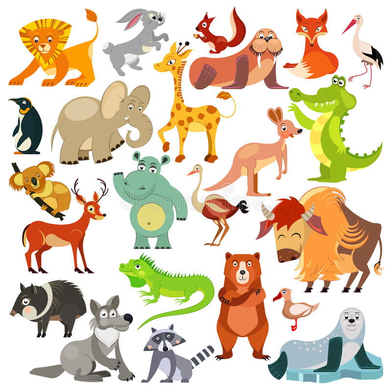 Set of funny animals, birds and reptiles from all over the world. World fauna. For alphabet. Vector royalty free illustration