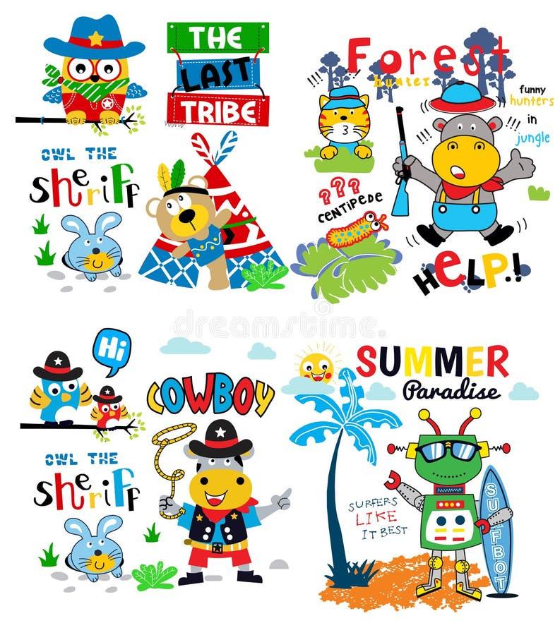 Set of funny animals cartoon vector vector illustration
