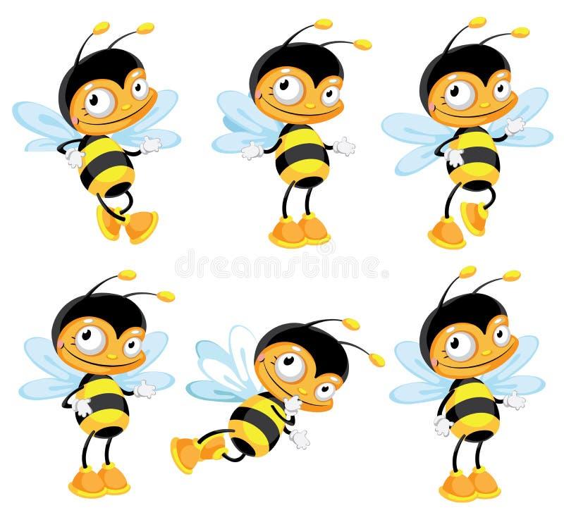 Set Funny Bee Royalty Free Stock Photo