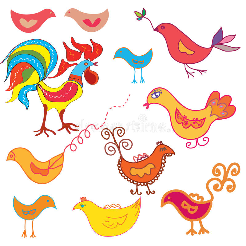 Set of funny birds
