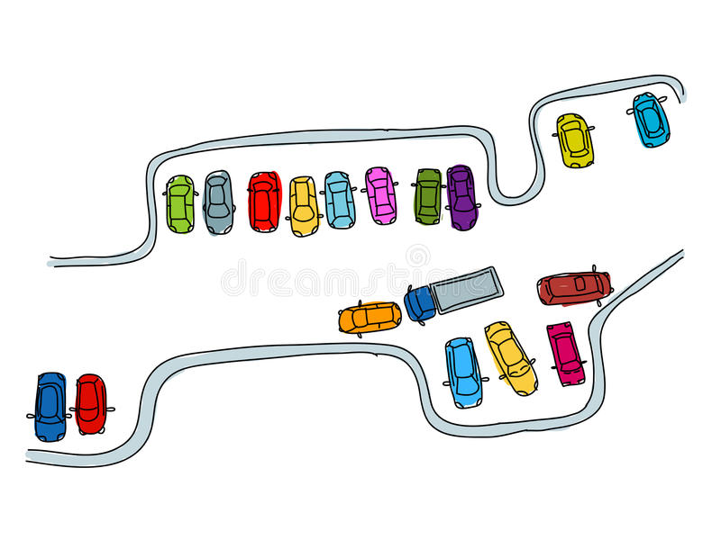 Set of funny cars on parking space for your design royalty free illustration