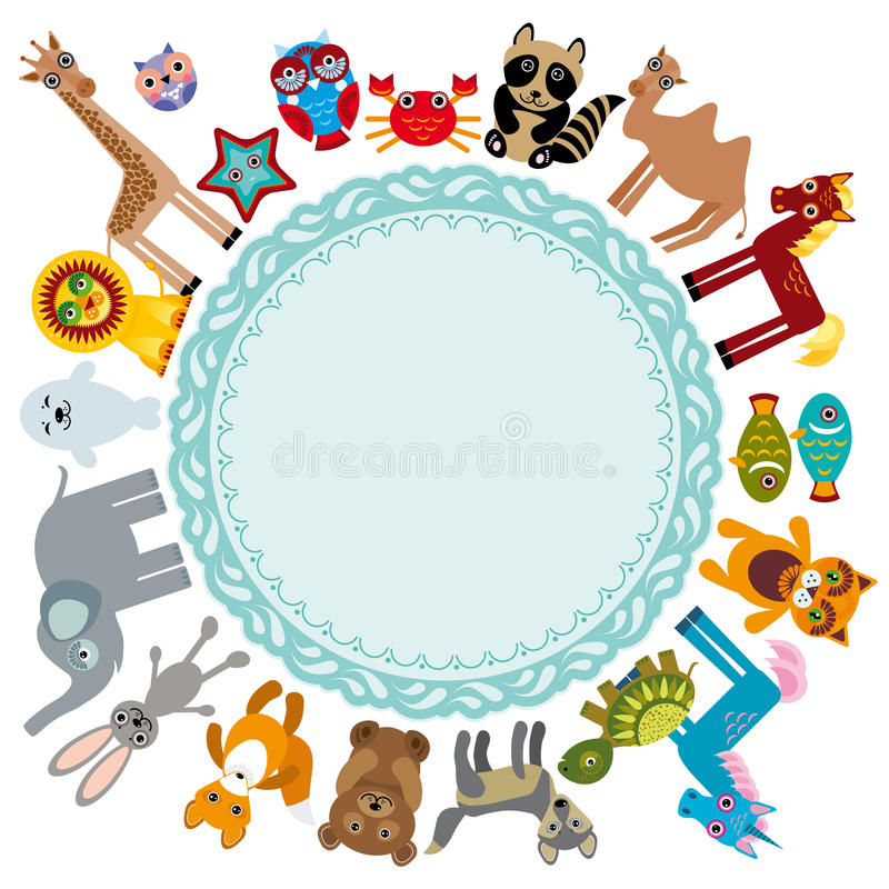 Set of funny cartoon animals character on a white background walking around globe. frame for your text. zoo. royalty free illustration