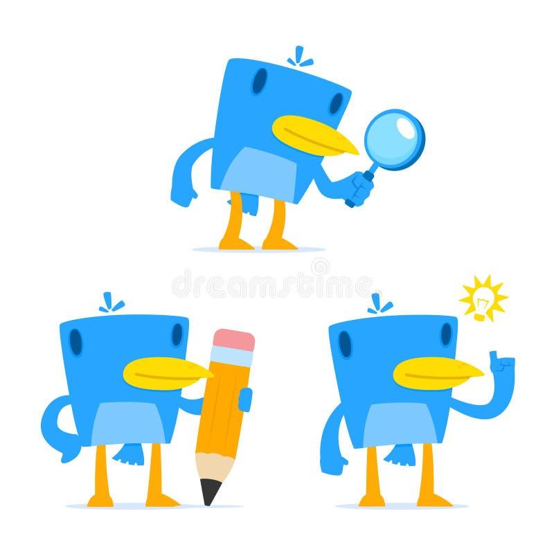Download Set Of Funny Cartoon Blue Bird Stock Vector - Image: 21593464