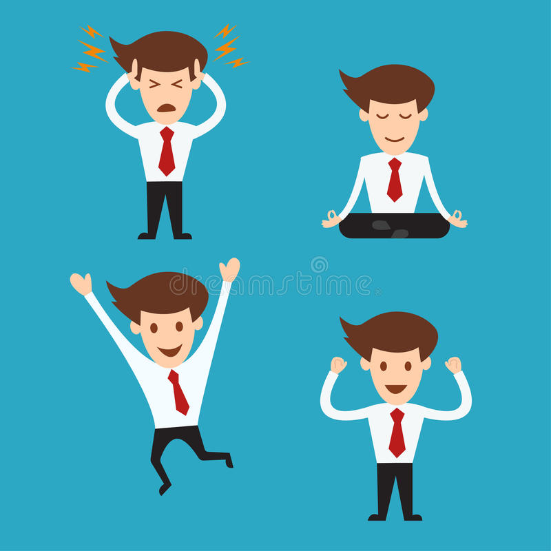 Set of funny cartoon business man in various poses royalty free illustration