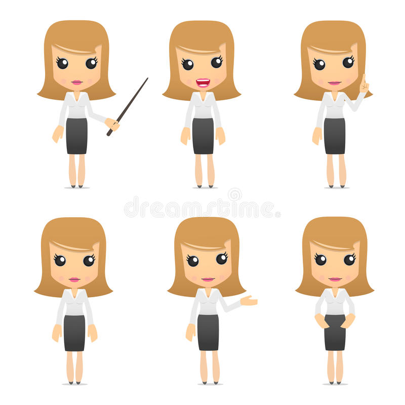 Set of funny cartoon business women stock illustration