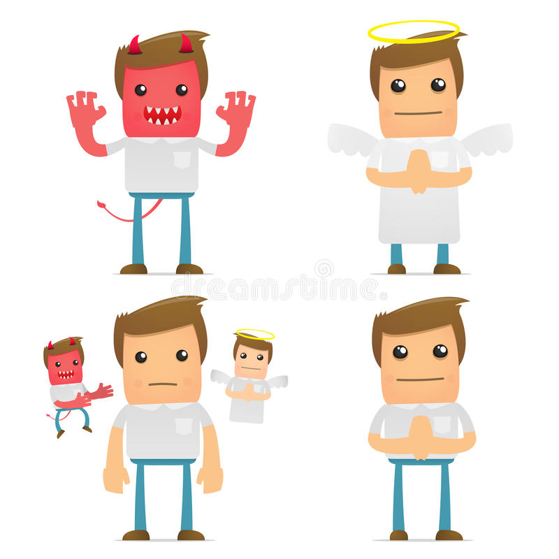 Set of funny cartoon casual man royalty free illustration
