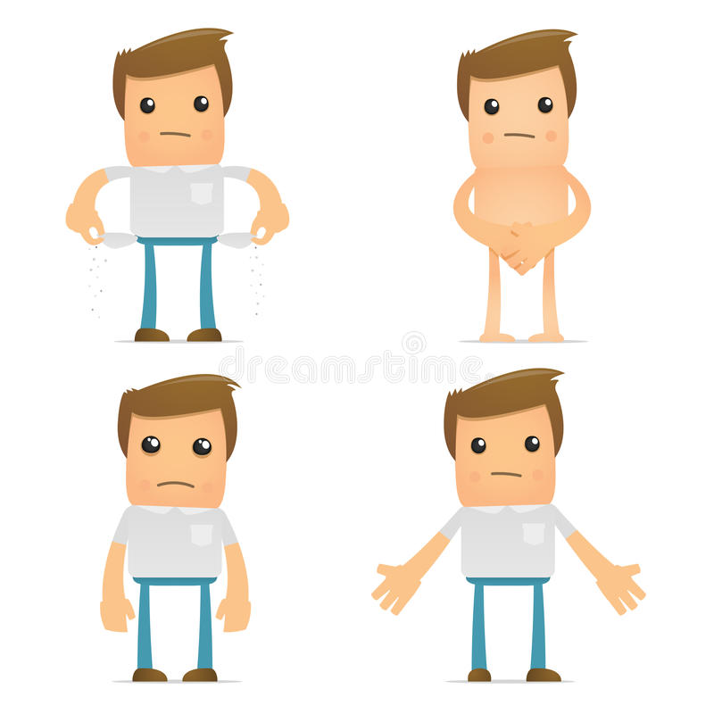 Set of funny cartoon casual man stock illustration