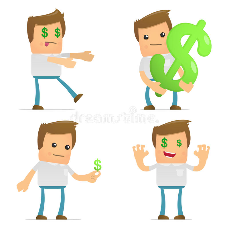 Set of funny cartoon casual man stock illustration