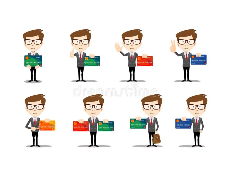 Set of funny cartoon casual man in various poses for use in presentations stock illustration