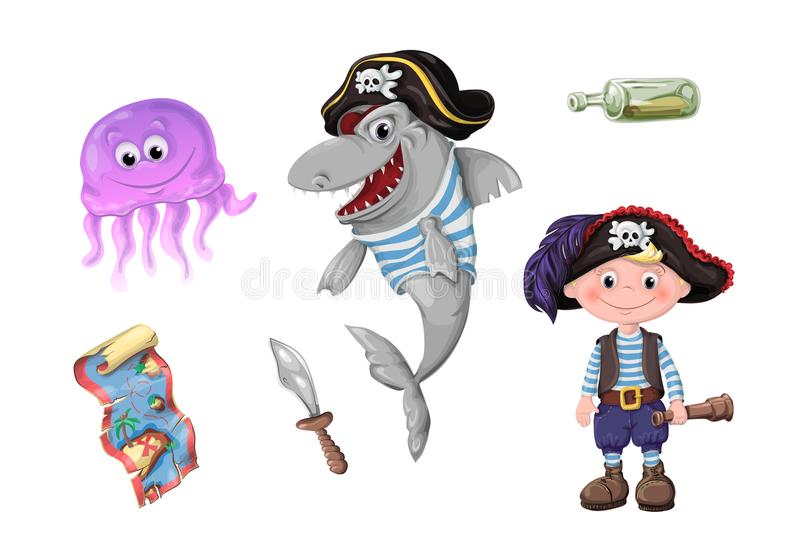Set of funny cartoon cute children of pirates and sea inhabitants. stock illustration