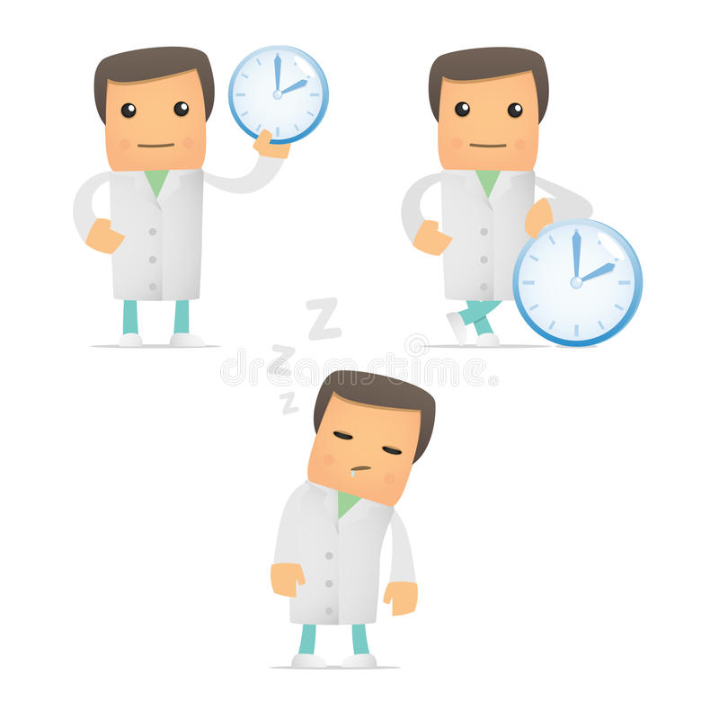 Set of funny cartoon doctor royalty free illustration