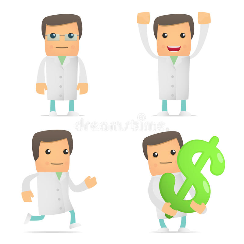 Set of funny cartoon doctor vector illustration